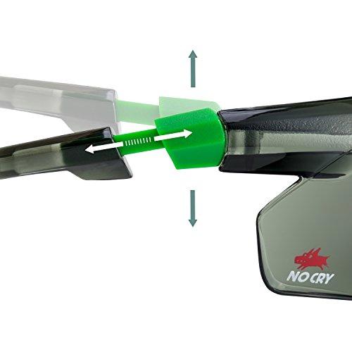 NoCry Sonnen-Schutzbrille mit grün getönten, kratzbeständigen Gläsern, Seitenschutz und rutschfesten Bügeln, UV 400 Schutz, verstellbar, schwarz grüner Rahmen. - 6