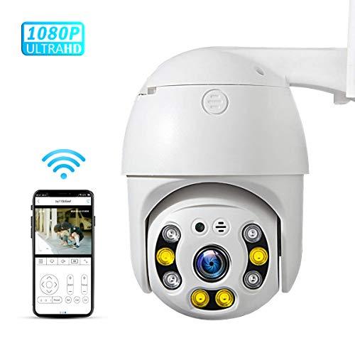 PTZ Camera wifi 1080P, IP Camera 355° Pan/90° Tilt, Sensore di Movimento, Interfono Vocale Bidirezionale, 30M Visione notturna a colori, IP66 Impermeabile, Allarme AI