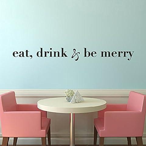 mairgwall Cuisine Sticker mural–Eat Drink Be Merry–Famille en vinyle mur religieuse Sticker, Vinyle, Customized-colors, 6