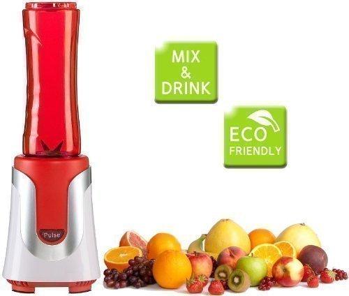 Smoothie Maker, roter Multimixer mit 2 Trinkflaschen, Saft-Maker, Standmixer, mixen direkt in der Trinkflasche (Flasche ideal für unterwegs)