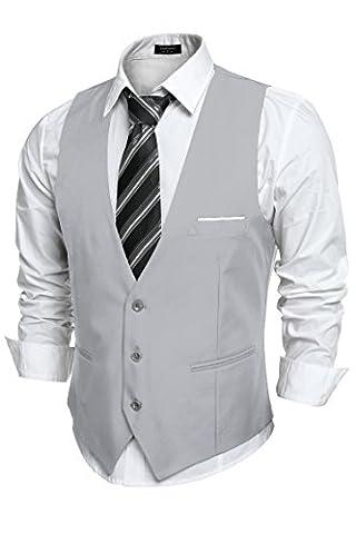 Coofandy Herren V-Ausschnitt Ärmellose Westen Slim Fit Jacke Lässige Weste Anzug Business Anzugweste Grau M