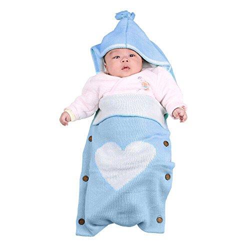 Neugeborenes Baby Gestrickt Wickeln Swaddle Decke,Schlafsack Neugeboren für Babygeschenke,Gozing Baby Wickeln Unisex für 0-12 Monate Jungen oder Mädchen(Blau)