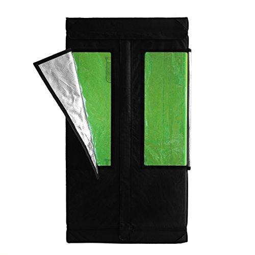 GreenTouch Growzelt Growbox >Neu< Lichtdichter und Wasserdichter Growschrank/Zuchtschrankt Geeignet für Homegrowing, Indoor Pflanzenzucht, für Ganzjährige Pflanzenzucht, Farbe: Schwarz 80x80x160 cm (Fern-panel)