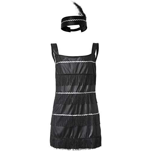dressforfun 900309 - Costume da Bambina Regina del Charleston, Abito Corto con Spalline Anni '20 (116| No. 301568)