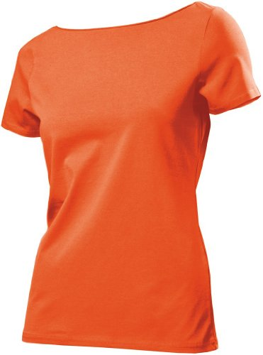 T-Shirt 'TasTy' mit eingerolltem Kragen Orange