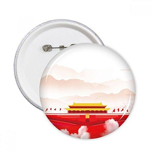 Peking-stift (DIYthinker Rote Fahne Tiananmen Berg Nebel Runde Stifte Abzeichen-Knopf Kleidung Dekoration 5Pcs Geschenk Mehrfarbig S)