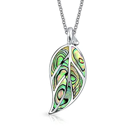 Bling Jewelry Abalone Shell Nature Leaf Pendant Sterling Silver Necklace 18 Inches