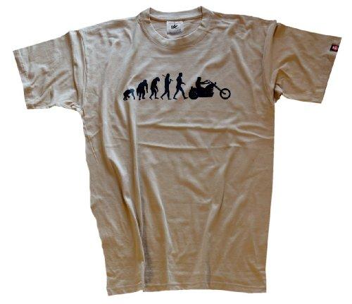 Shirtzshop Erwachsene T-Shirt Original Chopper Motorrad Evolution, Beige, L, sshop-evochopp-t
