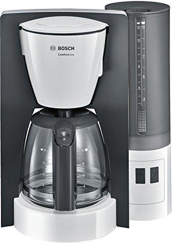 Bosch TKA6A041 Kaffeemaschine ComfortLine, Aromaschutz-Glaskanne, automatisch Endabschaltung wählbar in 20/40/60 minuten, 1200 W, weiß / dunkelgrau
