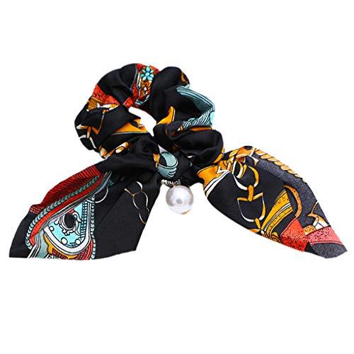 VIccoo Frauen-Damen-Dickdarm-Haar-Seil farbige geometrische Metallketten-Muster-Pferdeschwanz-Halter-Imitat-Perlen-Anhänger-Bowknot-Haargummis - Schwarz - Durchmesser Übergangs-anhänger