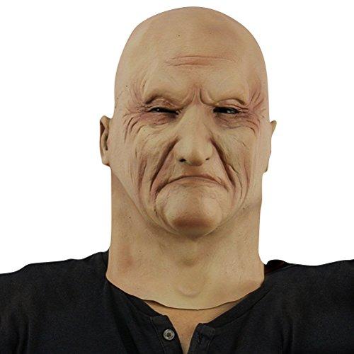 Old man alter Mann Greis Maske mask Kopf aus sehr hochwertigen Latex Material mit Öffnungen an Augen Halloween Karneval Fasching Kostüm Verkleidung für Erwachsene Männer und Frauen Damen Herren gruselig Grusel Zombie Monster Dämon Horror Party Party