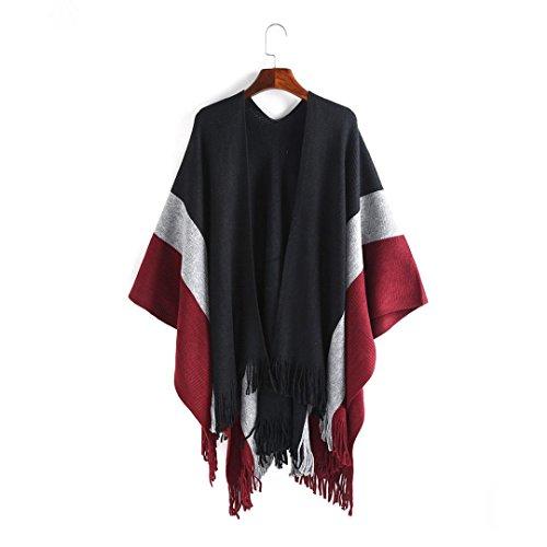 Cape Shawl Tassel Kimono Femme Floral, Kolylong 2017 Cachemire Élégant Chandail Cardigan longues Châle Écharpe Gland à rayures Veste Couvrir Chemise Blouse Vêtements dextérieur Rouge
