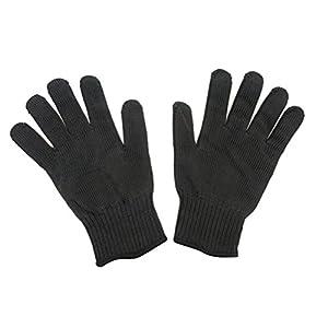 Tinksky Guantes resistentes al corte Protección Nivel 5 Guantes de seguridad para protección de las manos Guante de cocina para cortar y cortar 1 par (Negro)