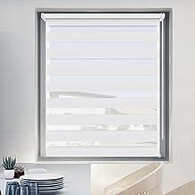 Estor Enrollable Noche y Día 50 x 100 cm Color Blanco, Cortina Doble Tejido Poliéster para Ventanas y Puertas Fijación sin Perforar