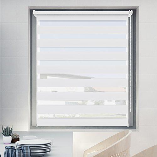 Store Jour Nuit 70x120cm Blanc, Store Enrouleur avec ou sans Perçage pour Fenêtre, Montage Facile avec Clips Klemmfix