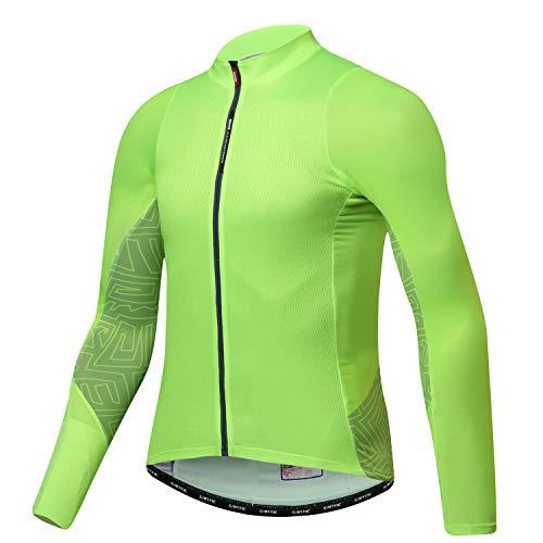 Santic Fahrradtrikot für Herren, langärmelig, Mountainbike-Hemd, Fahrradjacke mit Taschen, Herren, grün, US XXL/Asia XXXL