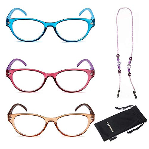 VVDQELLA Gafas lectura Pack 3 Calidad Bisagras Resorte