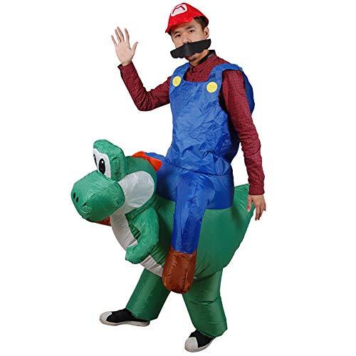 MIMI KING Aufblasbares Reiten Dinosaurier-Kostüm, Super Mario Cosplay, Lustiges Kleid Für Halloween-Erwachsene