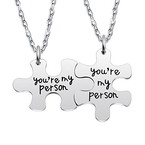 Lauhonmin Paar Halskette Set Best Friends Geschenke für Valentine 's Day Double Anhänger You Are My Person 2Stück