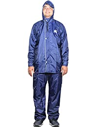 THE CLOWNFISH Sky One Prime Series Reversible Men's Polyester Double Layer Waterproof Raincoat with Hood and Reflector at Back for Night Travelling. Set of Top and Bottom Packed in a Storage Bag