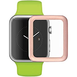 PIXNOR Premium Tempered Glass Film with Full Cover Metal Edge Screen Protector for Apple Watch 38mm (Rose Gold)