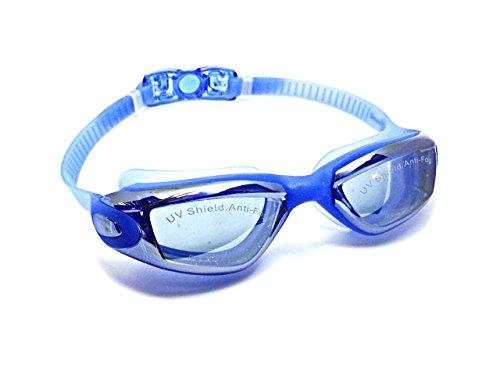 Bount Profi Schwimmbrille verspiegelt mit Antibeschlagschutz, UV Schutz und praktischer Aufbewahrungsbox für Erwachsene, Männer, Frauen und Jugendliche (Blau)