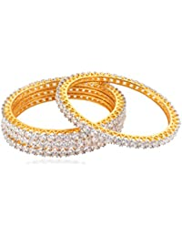 Allure International Gold Metal Bangle Set For Women, Set Of 4 (Size: 2.6, AIB 55)