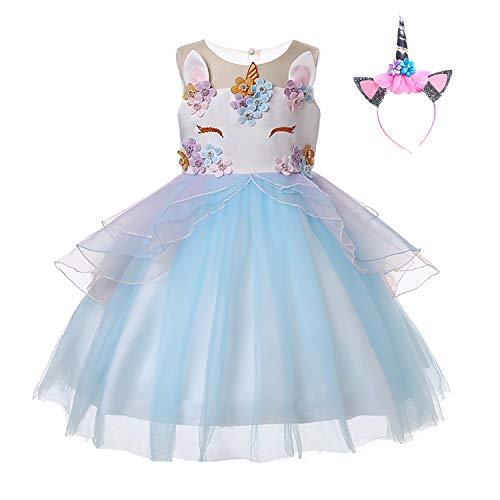 Kostüm Kind Leia Prinzessin - UrbanDesign Mädchen Prinzessin Kleid Verkleidung Kleid Partei Kostüm Einhorn (7-8 Jahre, Blau)