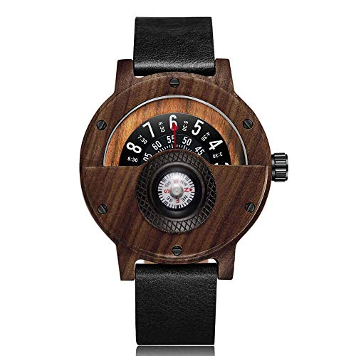 Creative Compass Turntable Mens Wooden Watch Leather Band Vintage Natural Wood Wrist Watches Men Gifts