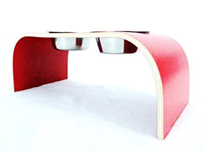 Red Raised Dog Bowl Holder - Medium Handmade in the UK by Lola and Daisy Designs