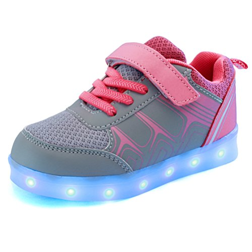 Zhhlinyuan Prime Quality Creative Boy Girl Sneakers 7 Colors USB Recharge LED Lights Low Shoes Rose Red
