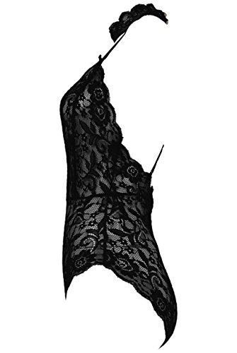 Mesdames Floral Lace Choker Neck Bodysuit EUR Taille 36-40 Noir