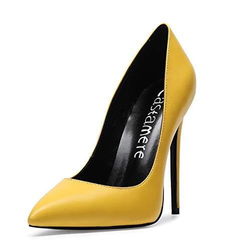 CASTAMERE Scarpe col Tacco da Donna Stiletto Tacco Alto High Heels Sexy Eleganti Scarpe 12CM Tacco PU Giallo Scarpe EU 40
