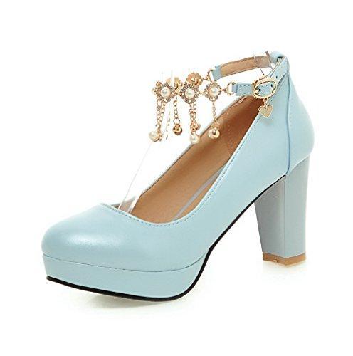 AllhqFashion Damen Rein Weiches Material Hoher Absatz Schnalle Rund Zehe Pumps Schuhe Blau