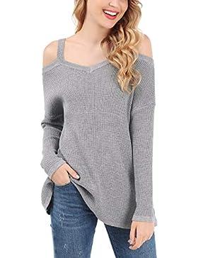 FISOUL Mujer Suéter Básico de Algodón Camiseta Elegante Casual Hombros Blusa Mangas Largas Cuello V Jersey Punto...