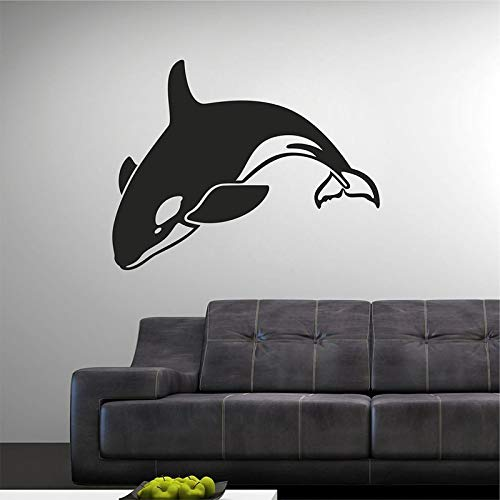 jiuyaomai 40 Farben Vinyl Wandaufkleber Muraux Dolphin Schaukel Muster Abnehmbare Wandtattoo Wohnzimmer Bett Wand Decor57x45 cm
