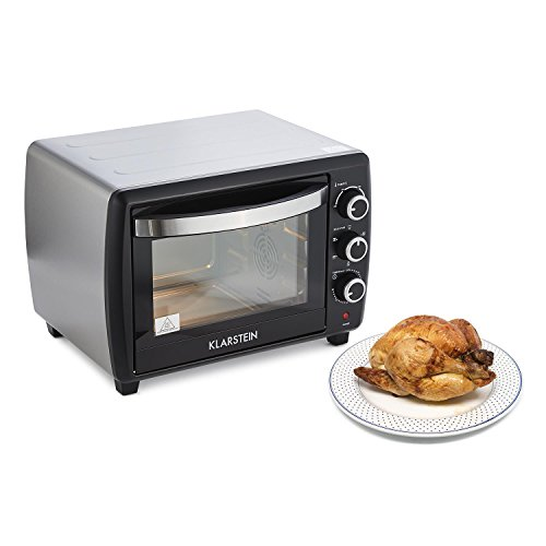Klarstein Omnichef 30 2G Mini Oven (1500W, 30L, 5 cooking functions, 3 rotary switches, timer, 100� to 230� C, includes baking tray, rotisserie spit and grill) - black