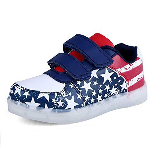 BURFLY Kinder American Flag LED Lichter Schuhe USB Light Schuhe Leichte atmungsaktive Turnschuhe