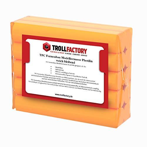 TFC Troll Factory Modelliermasse I Formenbau Plastilin I weich bleibend, orange I 2 x 250 g (Formenbau-silikon)
