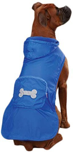 Casual Canine Fleece Lined Stowaway Rain Jacket, Medium, Blue by Leynas Pup Palace, LLC