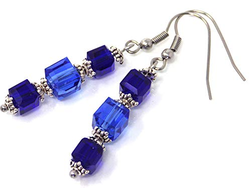 Hellblaue und dunkelblaue Ohrringe aus Glas und Edelstahl Vintage Couture-mode