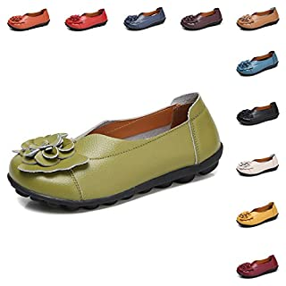 Gaatpot Women's Flowers Leather Moccasins Casual Slip-on Loafer Boat Shoes Driving Shoes Sandals Size, Green, 4 UK