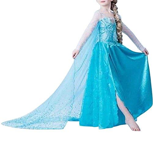 Cacilie® Prinzessin Kostüm Kinder Glanz Kleid Mädchen Weihnachten Verkleidung Karneval Party Halloween Fest (Elsa #01, 98-104)