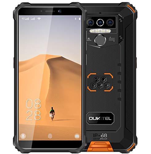 OUKITEL WP5 (2020) 4G Outdoor Smartphone ohne Vertrag, 8000mAh Batterie 4 LED Blitzlicht, Robustes Handy IP68, MTK6761 4GB + 32GB, 13MP + 2MP + 2MP, Android 9.0, Gesichtserkennung, GPS WiFi Orange