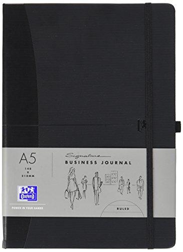 OXFORD 400049397 Notizbuch Signature DIN A5 liniert 144 Seiten schwarz Stiftschlaufe Gummibandverschluss Tagebuch Kladde Journal Skizzenbuch
