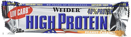 Weider Low Carb High Protein Bar, Erdnuss-Karamell, 1er Pack (24 x 50g)