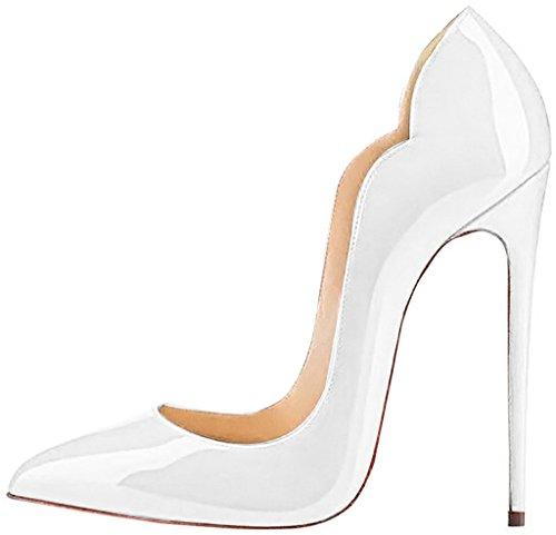 ELEHOT Femme 12cm Taille EU 34-46 Toyque Aiguille 12CM Synthétique Escarpins Blanc