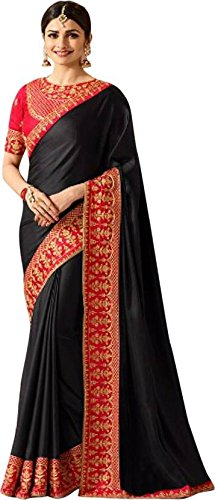 Magneitta Silk Saree With Blouse Piece (97076_Black_Free Size)