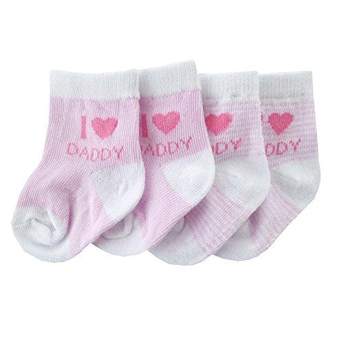 NEU   Mädchen 2er-Pack Strümpfe Socken weiß rosa I Love Daddy   0 bis 12 Monate 6-12 Monate
