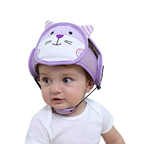 ERXYTQ Baby-Schutzhelm Cotton Autoschutzkappe für Kinder Krabbeln oder Gehen Neugeborene Fotografie Props Baby-Winter-Hut,Lila